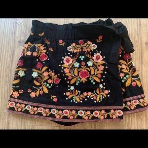 Zara embroidered flowers print skort shorts